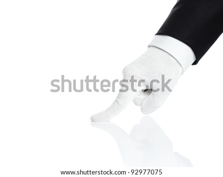 Male hand checking the quality isolated on white - stock photo