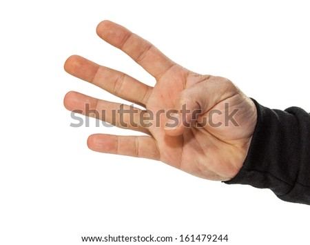 male hand counting 4 isolated on white - stock photo