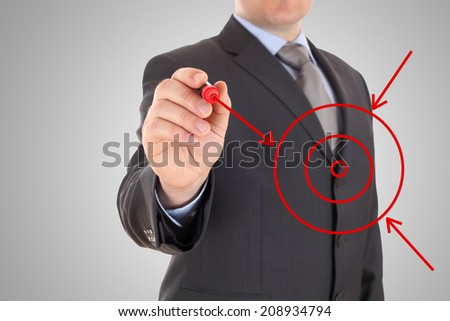 male hand draw arrows, a lot of options to arrive a goal - stock photo