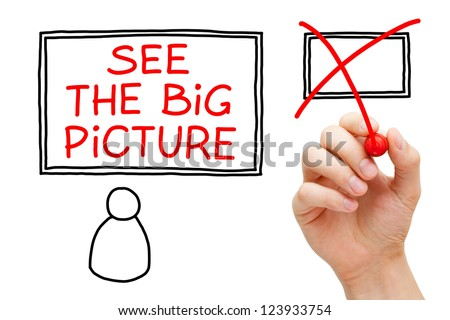 Male hand drawing See The Big Picture concept on transparent wipe board. - stock photo