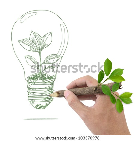 Male hand drawing tree in a light bulb. - stock photo