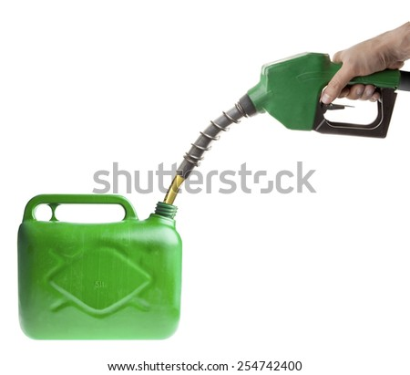 Male hand filling fuel in a green canister on white - stock photo