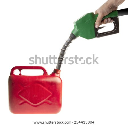 Male hand filling fuel in a red canister on white - stock photo