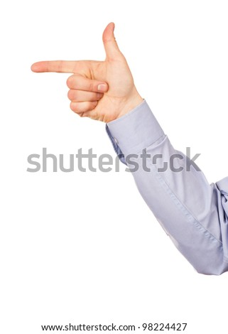 Male hand, gesture direction to the left. Isolated on white background