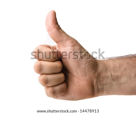 """Male hand gesture meaning """"okay"""" isolated on white - stock photo"""