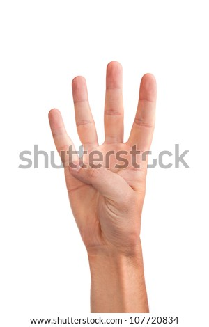 Male hand gesture number four closeup isolated on a white background - stock photo