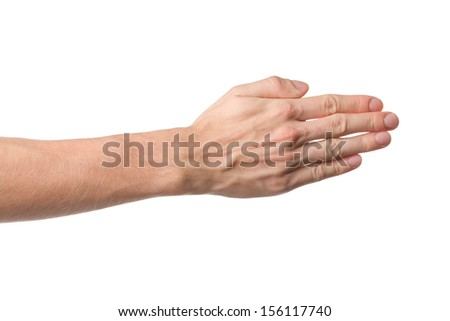 Male hand gesture. Opposite side of palm isolated on white