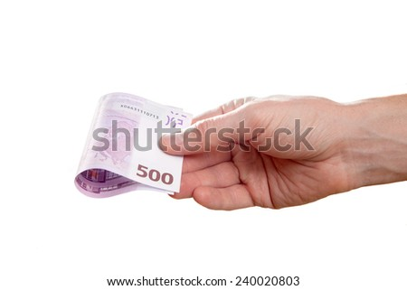 male hand holding a euros