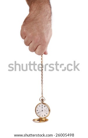Male hand holding a pocket watch and chain isolated on white background