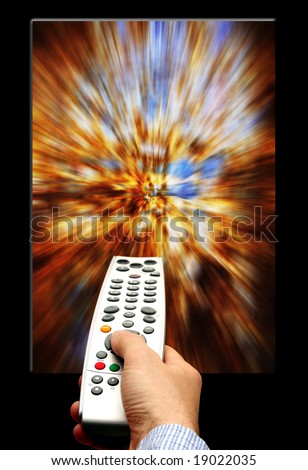 male hand holding a remote control against a colorful abstract picture - stock photo