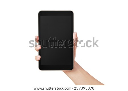 Male hand holding a tablet PC isolated on white - stock photo