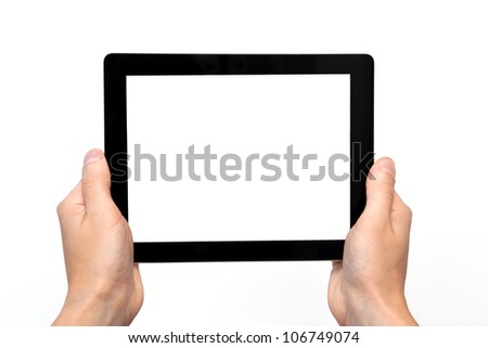male hand holding a tablet touch computer gadget with isolated screen - stock photo