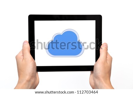 male hand holding a tablet touch computer gadget with the image of cloud - stock photo