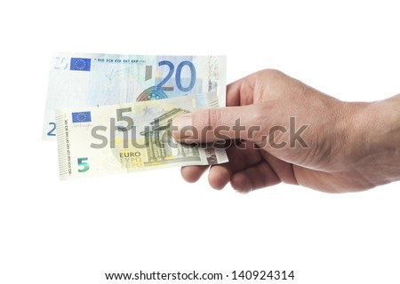Male hand holding 5 and 20 Euro bill isolated on white