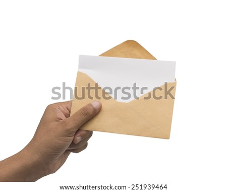 Male hand holding blank envelope with blank paper isolated on white background - stock photo