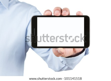 Male hand holding blank smart phone isolated on white background with clipping path for the screen - stock photo