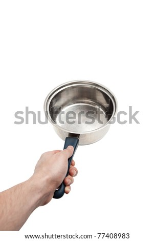 Male Hand holding empty stainless steel saucepan isolated on white with selective focus and copy space
