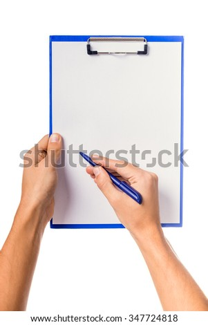 Male hand holding folder for documents isolated on a white background - stock photo