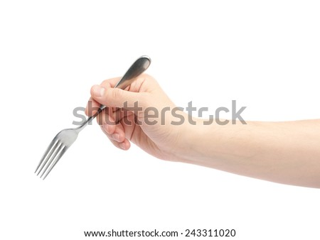 Male hand holding fork, composition isolated over the white background - stock photo