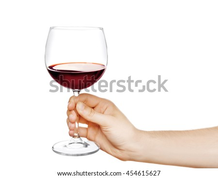 Male hand holding glass of wine isolated on white