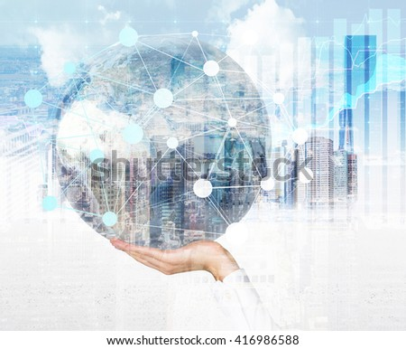 Male hand holding globe with networking system around on Singapore city background. Double exposure. Elements of this image furnished by NASA - stock photo