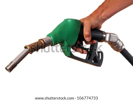 Male hand holding green pump isolated on white