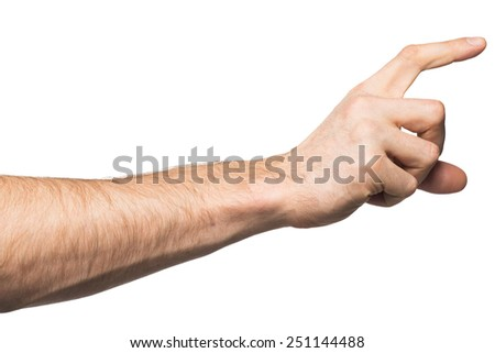 Male hand holding invisible paper card, isolated on white background - stock photo