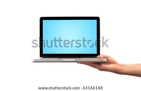 male hand holding laptop, isolated on white