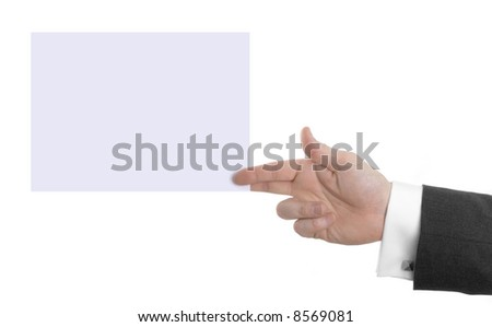 Male Hand holding Large Business Card - stock photo