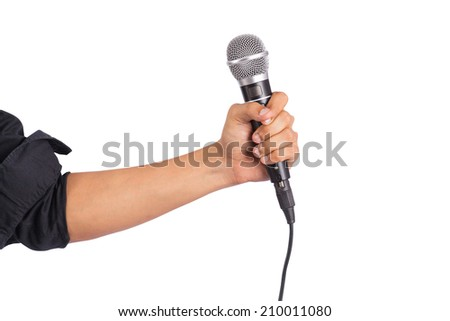 Male hand holding microphone on white background