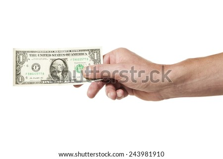Male hand holding one dollar bill isolated on white background - stock photo