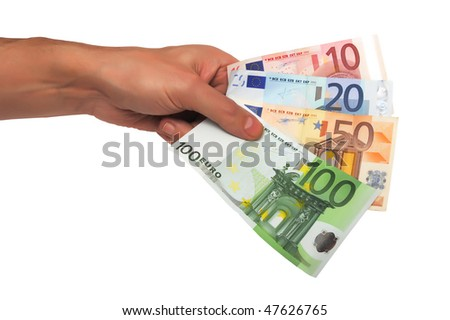 male hand holding paper euro isolated on white