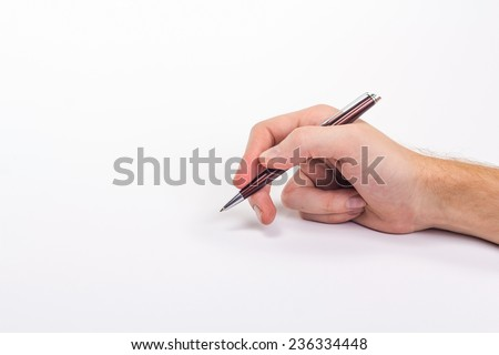 male hand holding pen. Isolated on white background.