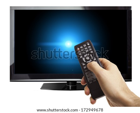 Male hand holding remote control to the TV screen with glowing blue light on screen isolated on white