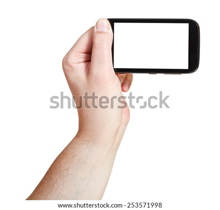 male hand holding smartphone with cut out screen isolated on white background - stock photo