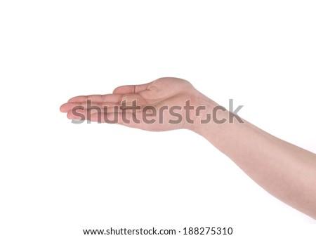 Male hand holding something. Isolated on a white background. - stock photo