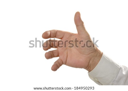 Male Hand holding something isolated on white background
