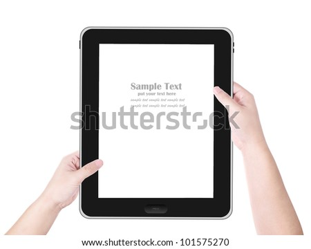 Male hand holding tablet PC white screen isolated on white background