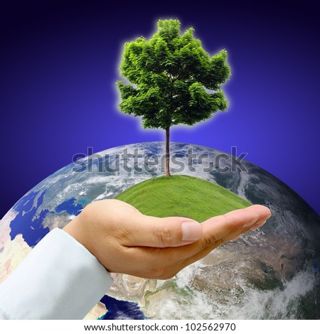 Male hand holding the Earth with tree : Elements of this image furnished by NASA - stock photo