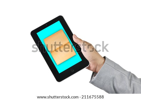 Male Hand Holding touch screen tablet and Book as e-book and e-document concept - stock photo