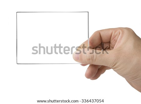 Male hand holding transparent card on white - stock photo