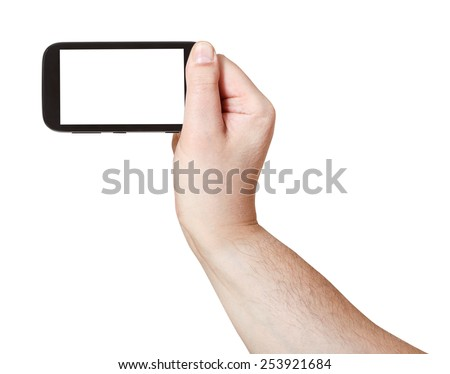 male hand holds smart phone with cut out screen isolated on white background - stock photo