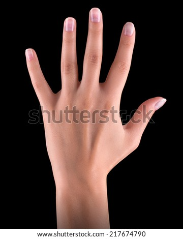 Male hand is showing five fingers isolated on black background - stock photo