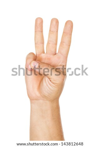 Male hand is showing three fingers isolated on white - stock photo