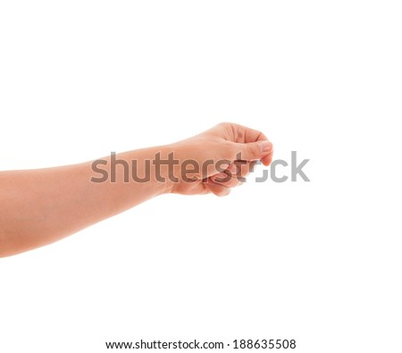 Male hand isolated on white background. Hand finger hand holds subject of an advertisement Isolated on white.