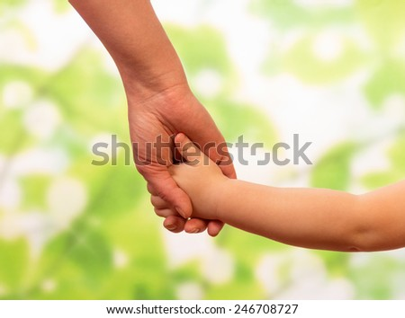 Male hand leading child, trust family concept