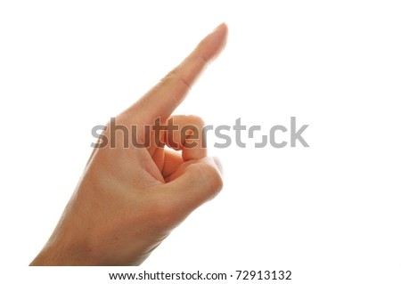 male hand pointing isolated on white background - stock photo