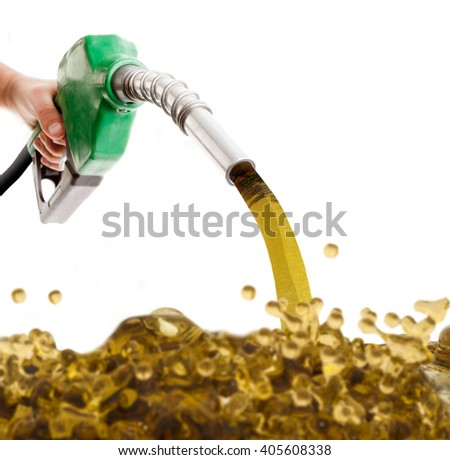 Male hand pumping gasoline in a tank isolated on white - stock photo