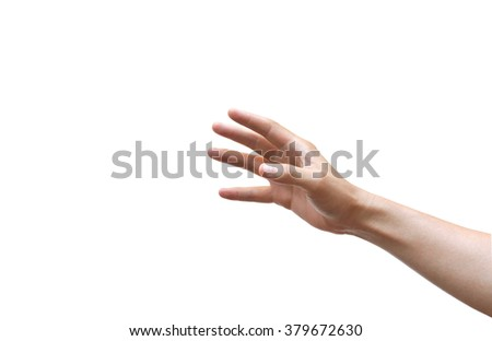 male hand reaching out isolated - stock photo