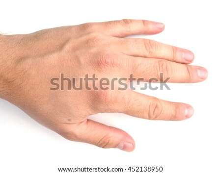 Male hand resting flat or reaching with palm facing down, isolated on white background